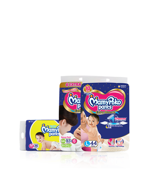 India's first pants style diapers that prevent leakage thus giving your baby a good and peaceful sleep.